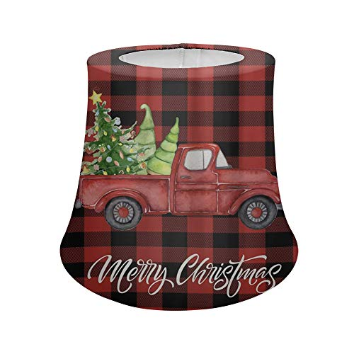 FKELYI Red Truck Carry Christmas Tree with Black Buffalo Plaid Design Drum Lampshade for Home Decorative Washable Lamp Shades Cover Universal Fit-S