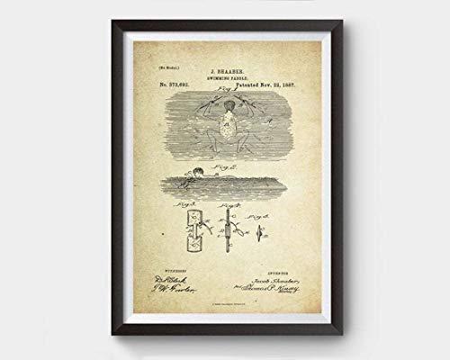 Póster de patente de pádel de natación (1887, J. Shaaber) sin marco, con cita motivacional para decoración del hogar