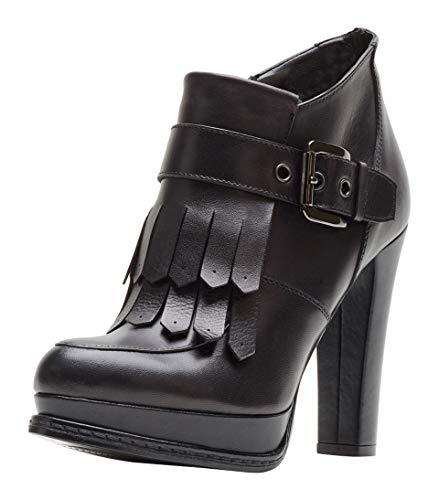 Poi Lei Damen-Schuhe Plateau Stiefeletten Melina Schwarz Trichterabsatz Leder