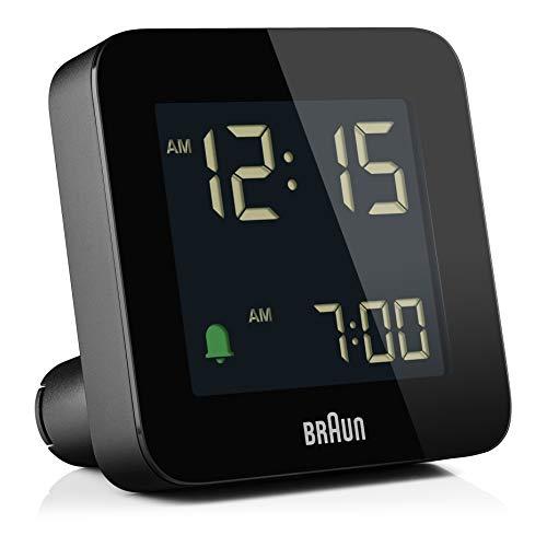 Braun Digitaler Wecker Schlummerfunktion, Negatives LC-Display, Schnelleinstellfunktion, Crescendo-Alarm in Schwarz, Modell BC09B.