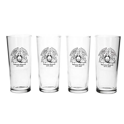 Queen Band Juego de 4 vasos de pinta - Juego de regalo de cerveza 568ml / 20oz - Juego de vasos de pinta oficial Queen Band
