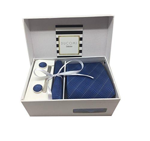 Ducomi Gentleman - Raffinato Cofanetto Coordinato Uomo Composto da Cravatta, Gemelli, Fermacravatta e Fazzoletto da Taschino - Elegante e Classico Regalo (Luxury)