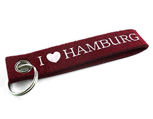 City Souvenir Shop Filz-Schlüsselanhänger I Love Hamburg, Bordeaux