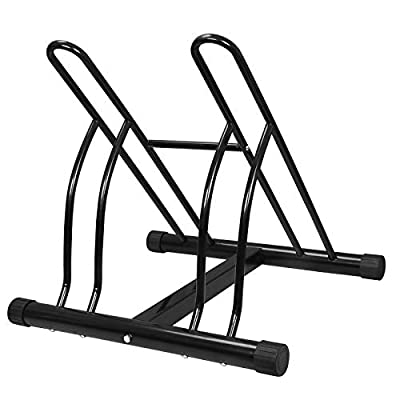 ZENY Double Bike Bicycle Floor Parking Rack Garage Storage Stand Bicycle Wheel Rack,Steel
