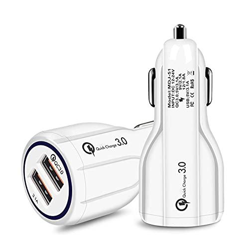 Peter LI Cargador DE Coche COMENTARIO DE Coche Power Auto CIGURTURE Adaptador DE Alquiler QC 3.0 Carga rápida Dual USB Accesorios de electrónica de automóviles (Color Name : White)