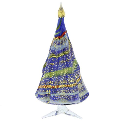 GlassOfVenice Murano Glass Christmas Tree Standing Sculpture - Blue