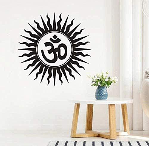 Vinilos Decorativos Hinduismo Símbolos Religiosos Indios En Sánscrito. Vinilos Decorativos Para Dormitorio. Fotomural Removible En Vinilo Yoga 57X57 Cm