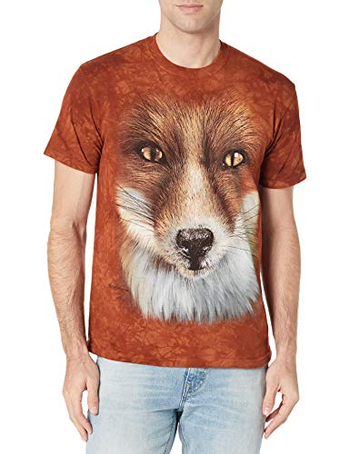 The Mountain Big Face Fox Adult T-Shirt, Rust, Large