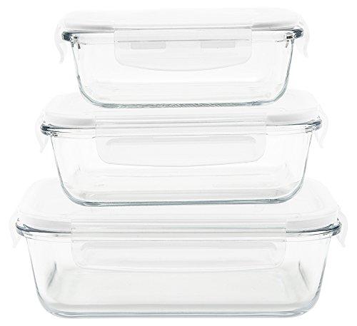 PEBBLY - PKV3SRB - Set de 3 boites de conservation en verre rectangulaires 400 ml, 650 ml et 1L pour cuire, conserver, transporter et réchauffer - 100% hermétique