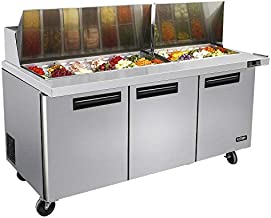 72 Inches 3 Door Mega Top Sandwich Prep Table Refrigerator - KITMA 22.6 Cu.Ft Refrigerated Salad Prep Station Table with Cutting Board and Pans, 33 °F - 38°F