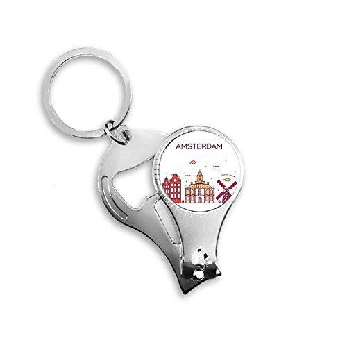 Amsterdam Nederland Platte Landmark Patroon Metalen Sleutelhanger Ring Multi-functie Nagel Clippers Fles Opener Auto Sleutelhanger Beste Charm Gift