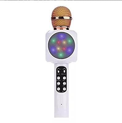 Wireless Bluetooth Karaoke Microphone Multi-Color LED Lights, 4-in-1 Portable Handheld Home Party Karaoke Speaker Machine for Android/iPhone/IPad/Computer/Notebook Or All Smart Phones (White)