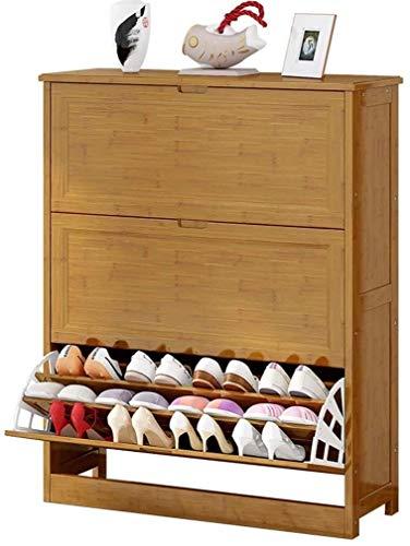 Zapatero de 3 capas con cubo basculante ultrafino, puerta de entrada multifunción de madera maciza, armario de almacenamiento para el baño, la cocina y la sala de estar (tamaño: 80 * 33 * 11