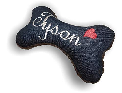 Hunde Spielzeug XXS XS S M L XL XXL Kissen Knochen Hundeknochen mit oder ohne Quietscher/Rassel schwarz Jeans bestickt Name Wunschname Hundekissen personalisiert Geschenk Hundespielzeug