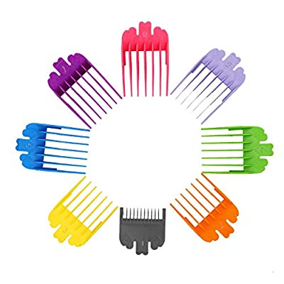8PCS Professional Guide Combs for Clippers, Hair Clipper Guide Combs Replacement Guards Set Hair Clipper Attachment Limit Comb Set, 8 Color 8 Length Fits for All Full-Size Wahl Clippers by EDIMENS