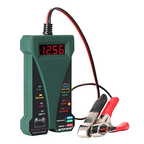 MOTOPOWER 12V Digitale Batterietester Voltmeter Ladesystem-Analysator mit LCD-Display und LED-Anzeige - Grün