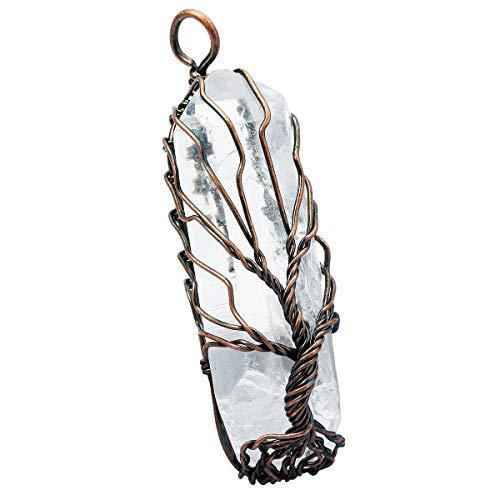 KYEYGWO Draht Gewickelt Baum des Lebens Anhänger, Handgefertigt Unregelmäßiger Natürlicher Edelstein Heilung Bergkristall Punkte Halskette Anhänger
