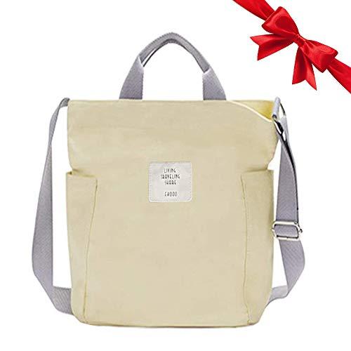 Gindoly Casual Handtasche Damen Canvas Chic Schultertasche Damen Henkeltasche Schulrucksack Große umhängetasche Tasche Beige