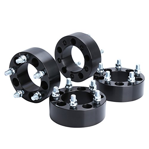 "Wheel Spacers for TJ,YJ, KSP 4Pcs 2"" 5x4.5 to 5x4.5 (5x114.3) Thread Pitch 1/2-20 Hub Bore 82.5 mm 5 Lug 50mm Wheel Adapters for Cherokee Comanche Wrangler Grand Liberty, Black"