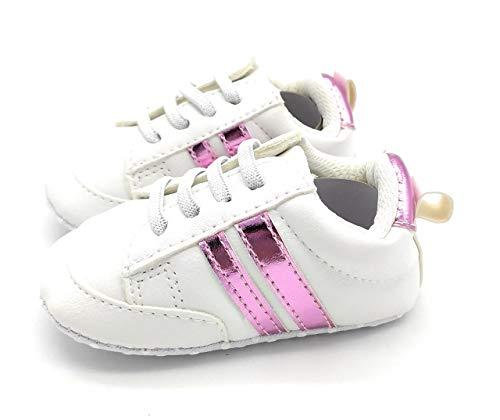 Zapatos Unisex Bebe Niño Niña Recién Nacido Primeros Pasos Zapatillas Deportivas Bebé Suela Blanda Antideslizante (Blanco y Rosa)