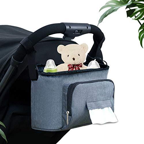 VersionTECH. Carrozzina Carrello Stoccaggio Borsa per Passeggino Infantile Viaggio Impermeabile, con 2 portabottiglie laterali, tracolla, utilizzabile come borsa da trasporto