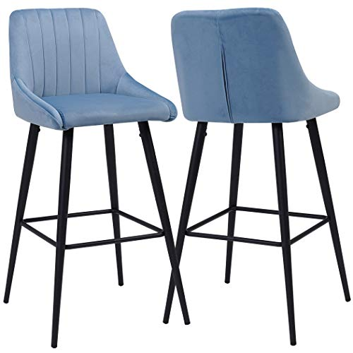 Juego de 2 taburetes de Bar Tela (Terciopelo) Cuadrado con Respaldo Patas de Metal seleccion de Color Duhome 5162, Color:Azul, Material:Terciopelo