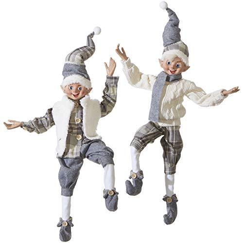 RAZ Imports Set of 2 Posable Christmas Elfs 16 Inch Cozy Knit White and Grey Plaid 3902260