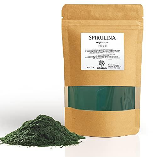 ERBOTECH Polvere di Spirulina Busta da 100 g, Ricca di Proteine, Calcio e Vitamine, Ricca di Nutrienti, Supporto per una Vita Senza Stress, Vegan, Made in Italy