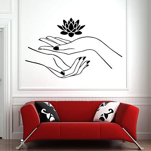 JXMN Friseur Wandaufkleber Kunst Nagel Salon Hand Wandtattoo Design Muster Nagellack Blume Wanddekoration Abnehmbar Wasserdicht 63x99cm