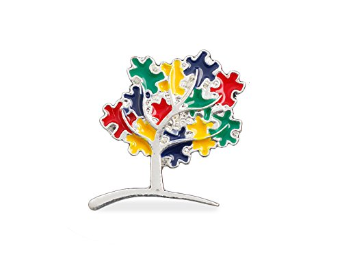 Fundraising For A Cause | Autism Puzzle Piece Tree Pin – Autism & Asperger's Awareness Pin (1 Pin)