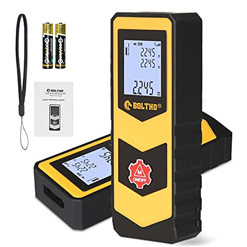Medidor de Distancia láser BOLTHO, Medidor Láser portátil de Alta precisión de 30M/ 98 pies con retroiluminación LCD, un botón Mide la Distancia/ área/ Volumen, con batería de Modo pitagórico