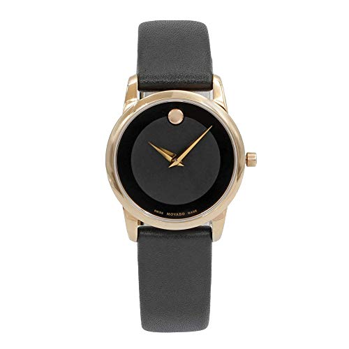 Movado Museum Classic Black Dial Leather Strap Ladies Watch 0607079
