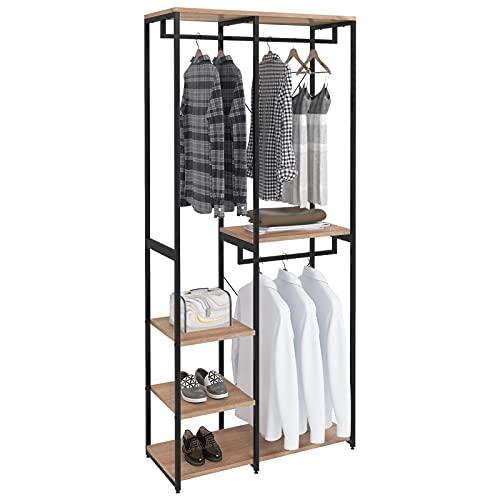WOLTU SR0062hei Porte-Manteau en aggloméré et Acier,Porte-vêtements avec étagère à chaussures,Noir+Chêne Clair