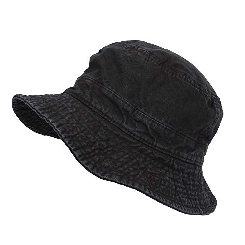 WIM Cappello Pescatore Boonie Fishing Bucket Hat Safari Summer Cotton cap KRB1172 (Black)