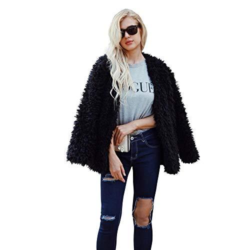 Women Fluffy Fuzzy Faux Fur Coat Open Front Cardigan Jacket Coat Outwear for Wedding Party Winter (Black,S)