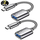 Gritin Adaptador USB C a USB 3.0, 2 Pack [0.15M +0.3M] Cable USB C OTG 5 Gbps para MacBook Pro, Xiaomi Note 7/Mi 9T/Mi A1, Galaxy S10/S9, Huawei P10/P9/Mate 10, OnePlus, y Más Dispositivos con USB C