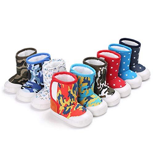 Greceen Infant Baby Boys Girls Boots Premium Soft Sole Anti-Slip Warm Winter Snow Boots Newborn Crib Shoes(301 12-18 Months White Flower)