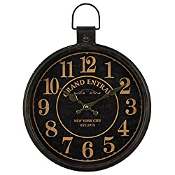 12 inch Retro Pocket Watch Wall Clocks Home Indoor Silent Battery Operated Decorative Clock Wrought Iron Ornament Wall Clock Metal Glass Wall Clock Black