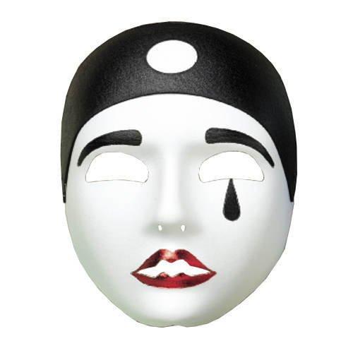 PARTY DISCOUNT Maske Pierrot, schwarz/weiß