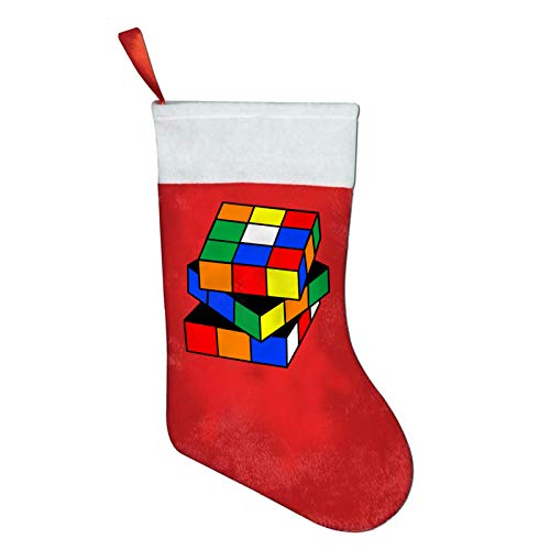 Cube World Christmas Stockings Xmas Gift 16.5' Christmas Socks Santa Christmas Tree Hanging Ornament Fireplace Xmas Tree Holiday Party Decoration Gifts