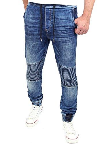 Reslad Jogging Jeans Jogger Denim Biker-Style Jeans-Herren Slim Fit Jogging-Hose RS-2068 (2XL, Blau)