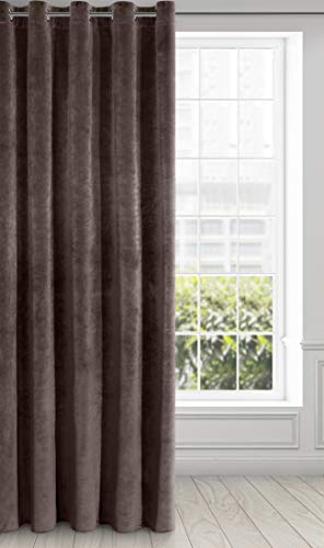 Eurofirany Ria Cortina de Terciopelo Suave con Ojales, 1 Unidad. Elegante, Glamour Dormitorio, salón, marrón, 140X250cm
