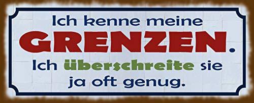Deko7 tennskylt 27 x 10 cm German Text I kenne Mina gränzen. Eftersom I cross them ofta tillräckligt.
