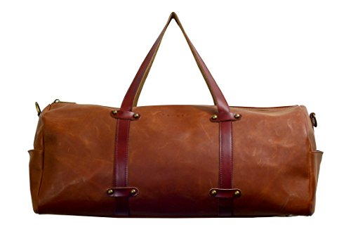 The Bayraw Duffle for Men, 100% Real Leather   Holdall   Gym Bag   Overnight Bag
