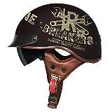 Sunzy Medio Casco de Motocicleta, Retro Harley Hombres y Mujeres, Siempre Verde, Patinete de Calle, Medio Casco/homologado por Dot,M