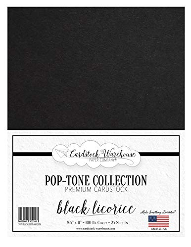 Black Licorice Cardstock Paper - 8.5 X 11 Inch 100 Lb. Heavyweight Cover -25 Sheets From Cardstock Warehouse