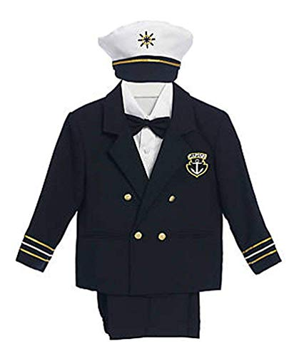 iGirlDress Baby Toddler Boys Captain Sailor Tuxedo Special Occation Suit size7 Navy/NavyPants