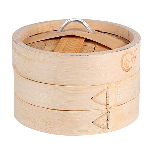 Cabilock Vaporiera in bambù Cestello A Vapore A 2 Livelli Gnocchi al Forno A Vapore Utensili da Cucina per Cucinare Dim Sum Veggies Pesce