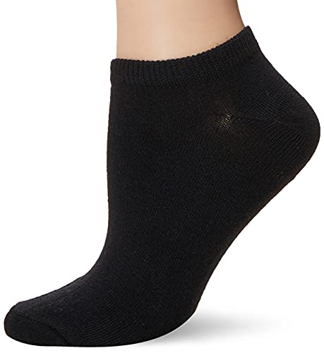 K. Bell Women's 6 Pack Patterns and Design No Show Low Cut Novelty Socks, Solid Black, Shoe Size: 4-10