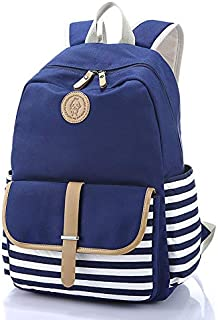Lumcrissy School Backpack Sets with Waterproof Raincoat, Canvas Lightweight Shoulder Bags (Blue-single)